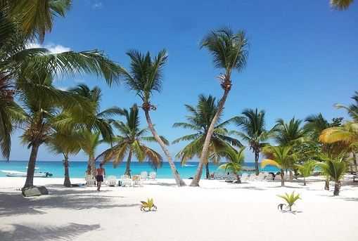 Catuano Beach - white sand and large palm trees