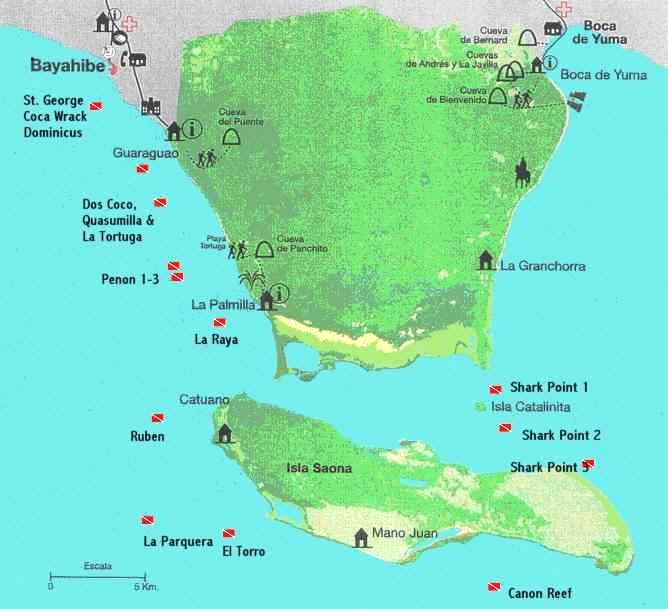 Dive Map - Dive sites near Bayahibe