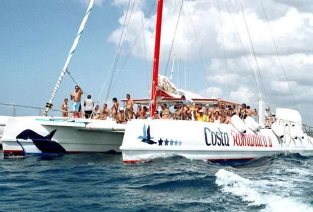 party on board of the catamaran