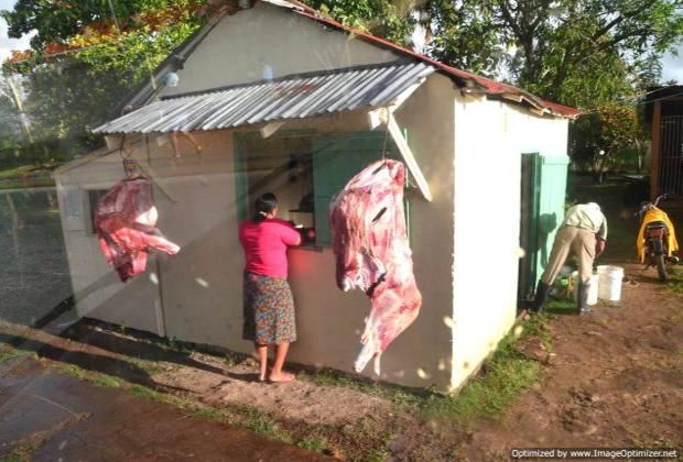 Roadside butchery, on the way to Miches for the Whale Watching excursion
