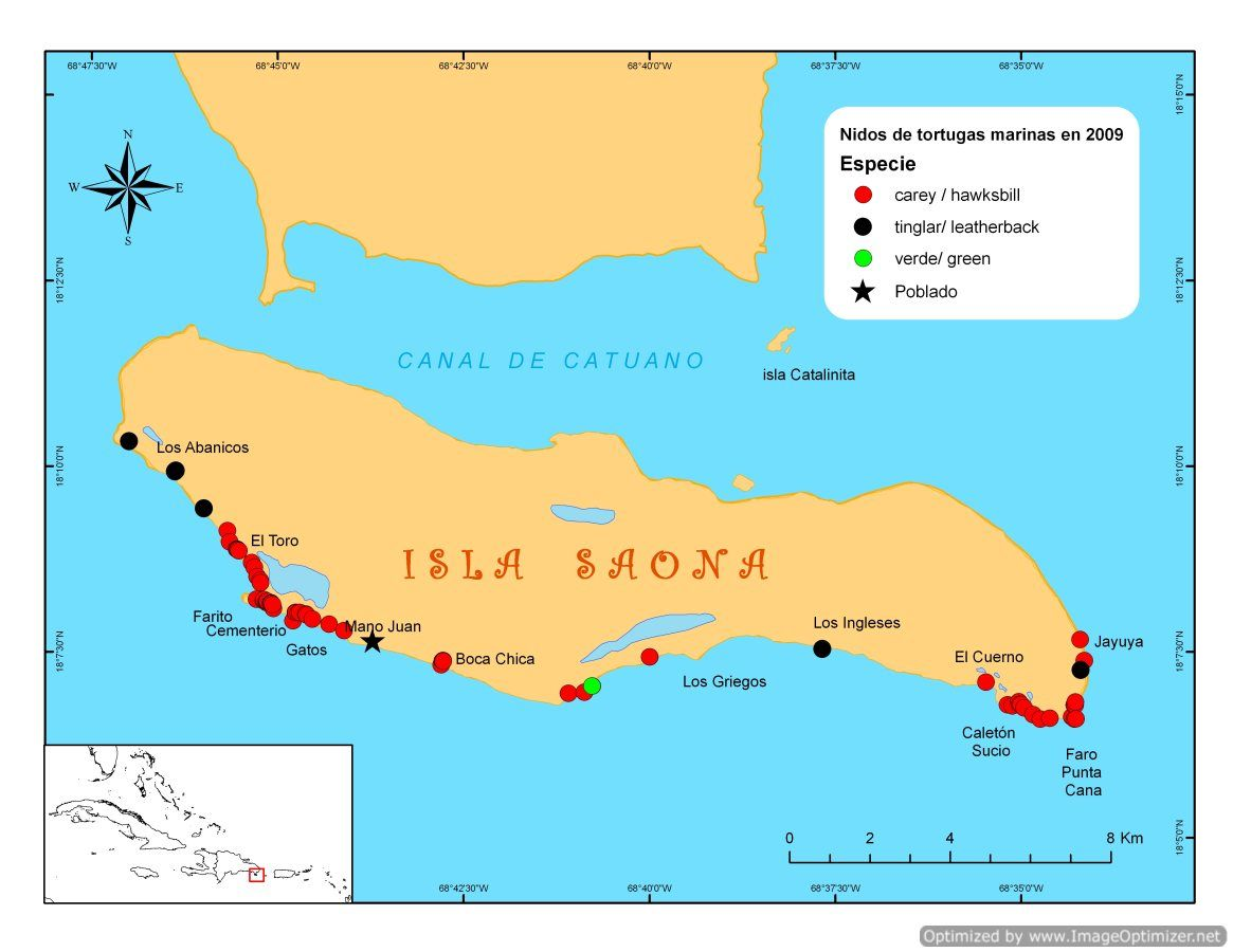 Saona Island - Map of Sea Turtle Nesting sides